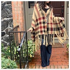 Jackets & Blazers - Plaid fringe trim  knit cape